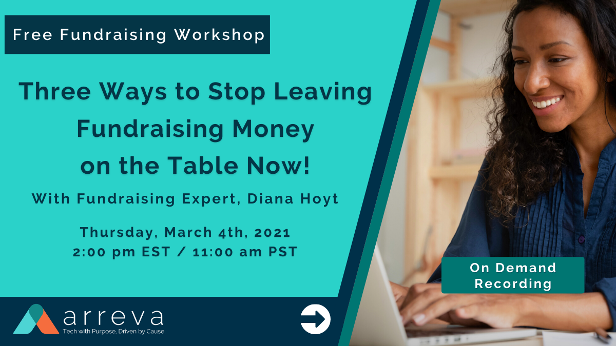 On Demand Recording 1200 X 675  March 4th, 2021 Free Fundraising Workshop - Three Ways to Stop Leaving Fundraising Money on the Table (2)